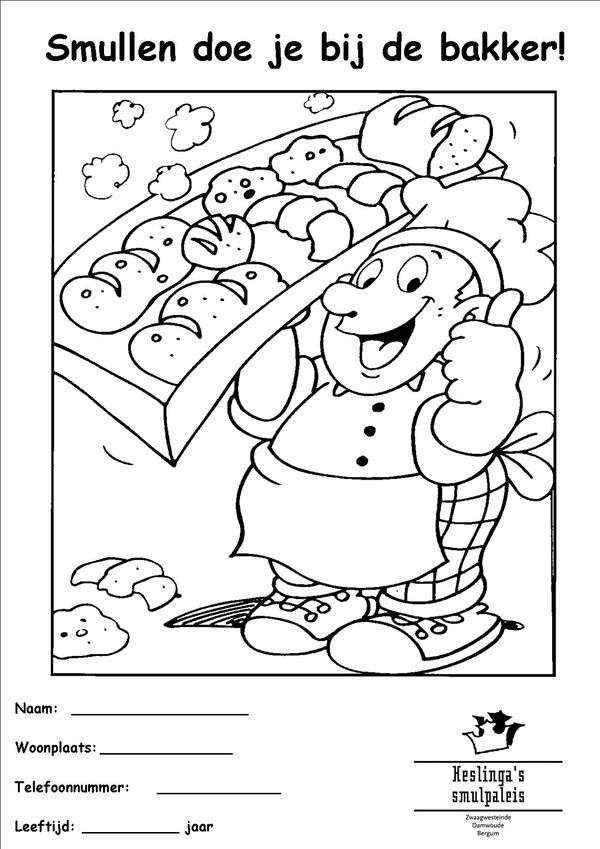 Baker clipart bakker. Kleurplaat thema and chef