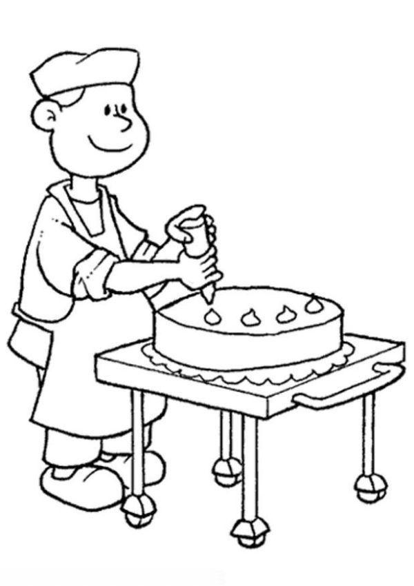 Baker clipart bakker. Kleurplaat maakt een taart