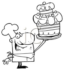 Baker clipart black and white. A silhouette of holding