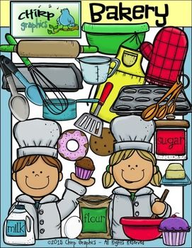 Bakery clip art set. Baker clipart boy baker