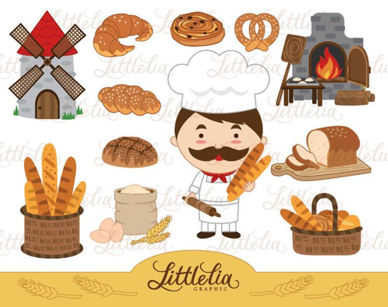 Baker clipart bread baker. Bakery instant download