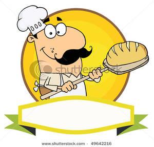 Cartoon logo mascot man. Baker clipart bread baker