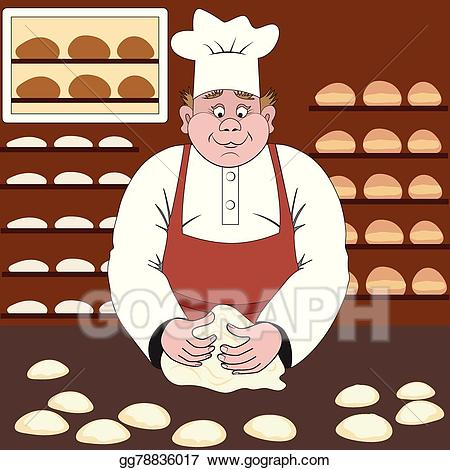 Bakery clipart baker. Vector makes the bread
