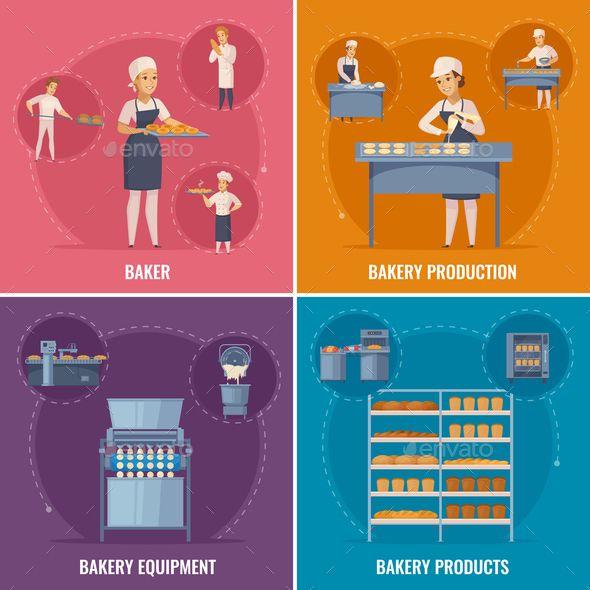 Bakery cartoon design concept. Baker clipart bread factory