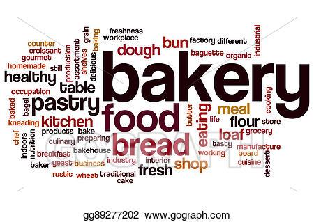 Baker clipart bread factory. Stock illustration bakery word