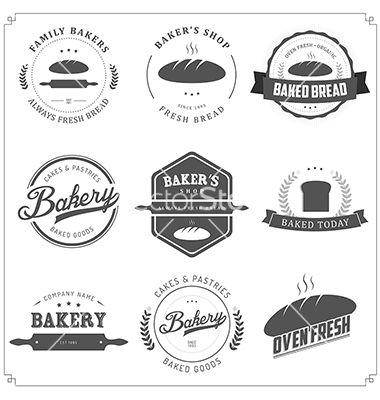 Set of vintage bakery. Baker clipart bread factory