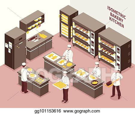 Eps vector isometric bakery. Baker clipart bread factory