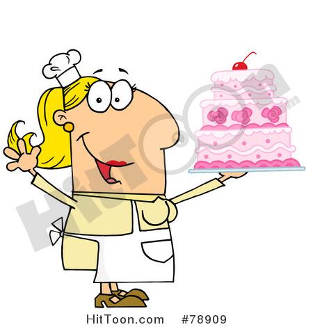 Baker clipart bread maker. Caucasian cartoon cake woman