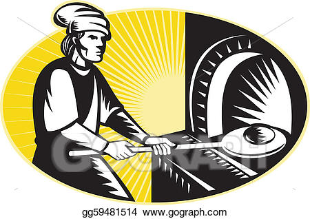 Drawing medieval baking pan. Baker clipart bread maker