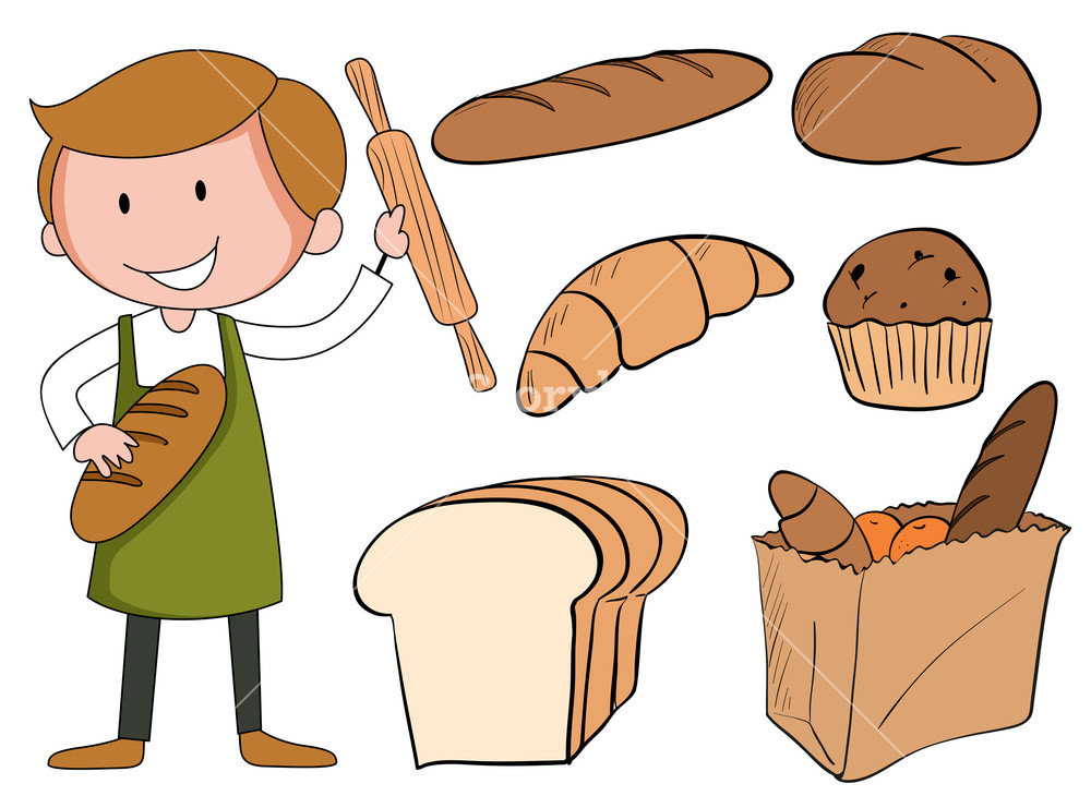 Flashcard of with illustration. Baker clipart bread maker