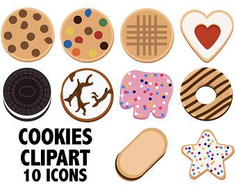 Birthday chocolate digital cookies. Baker clipart cake