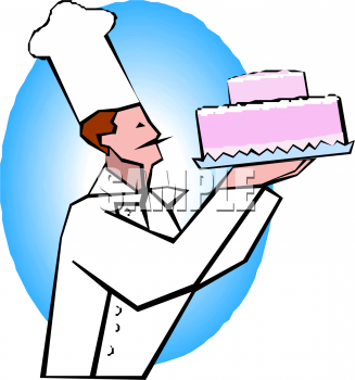 Pastry chef holding a. Baker clipart cake