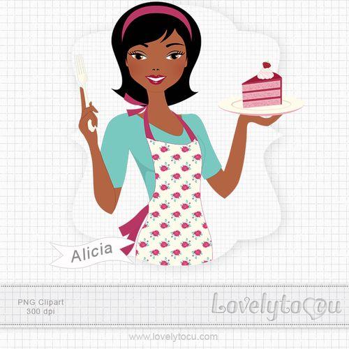 Baker clipart cake. Girl with by lovelytocu