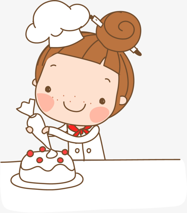 Hand painted cake girl. Baker clipart cartoon