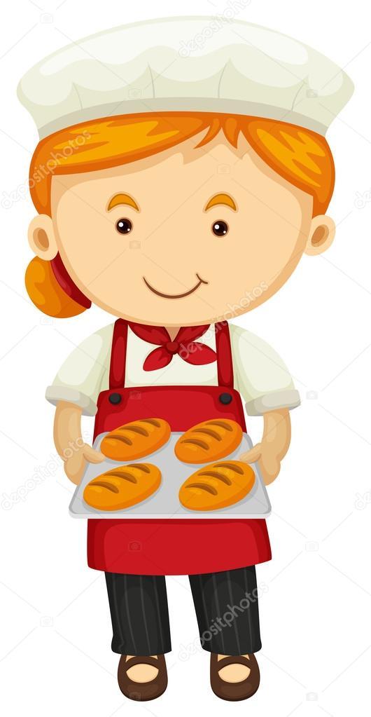Female holding fresh bread. Baker clipart child