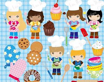 Baker clipart child. Little etsy cooking baking