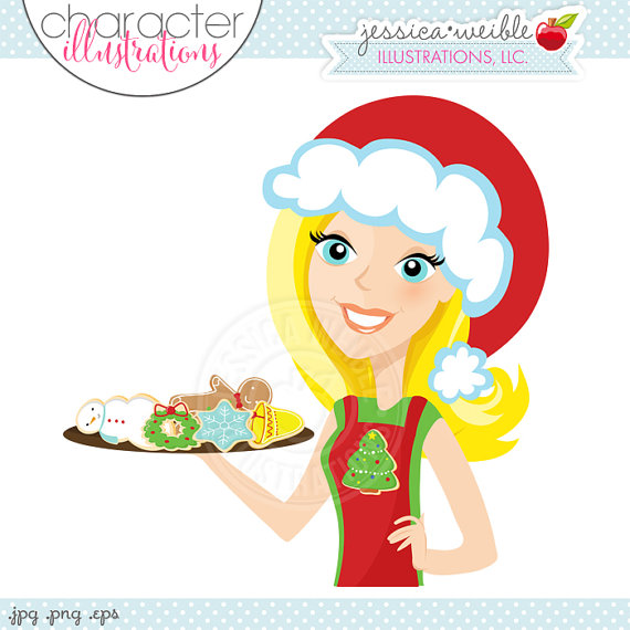 Baker clipart christmas. Blonde cookie character illustration