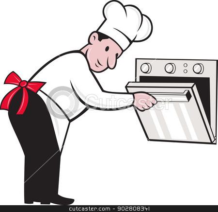 Baker clipart cook. Cartoon chef opening oven