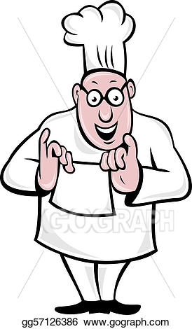 Drawing chef holding paper. Baker clipart cook