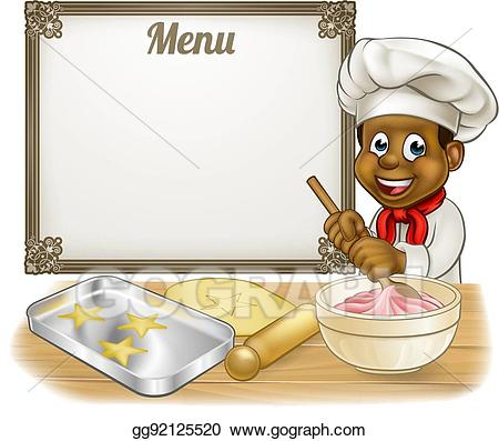 Vector art black or. Baker clipart cook