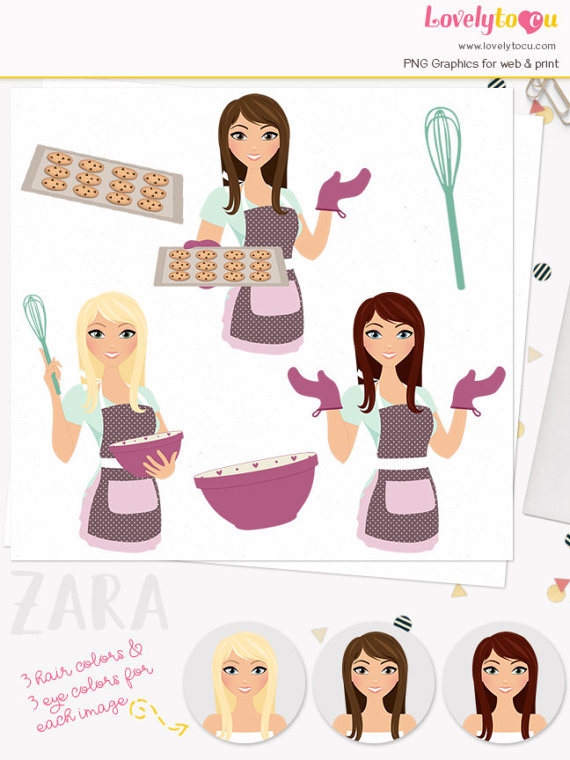 Baking woman character chocolate. Baker clipart cookie