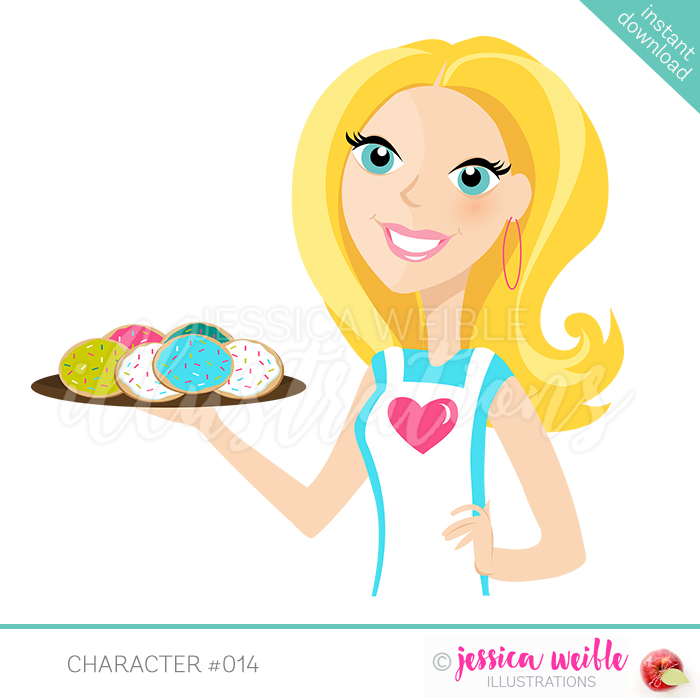 Baker clipart cookie. Long blonde flip jw