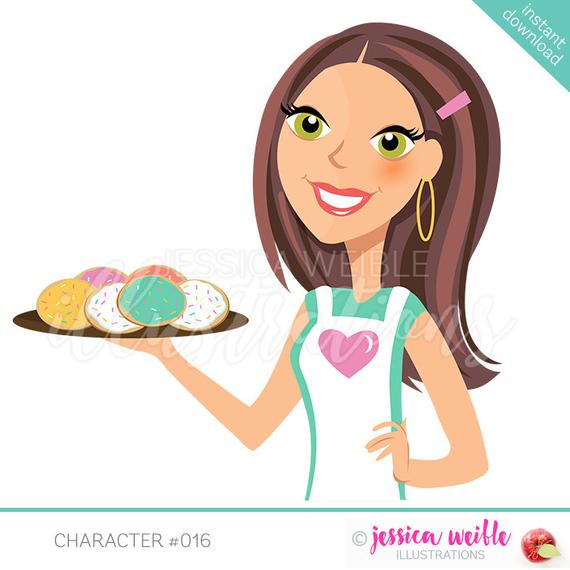 Instant download character illustration. Baker clipart cookie