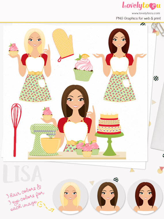 Girl character cupcake woman. Baking clipart baker