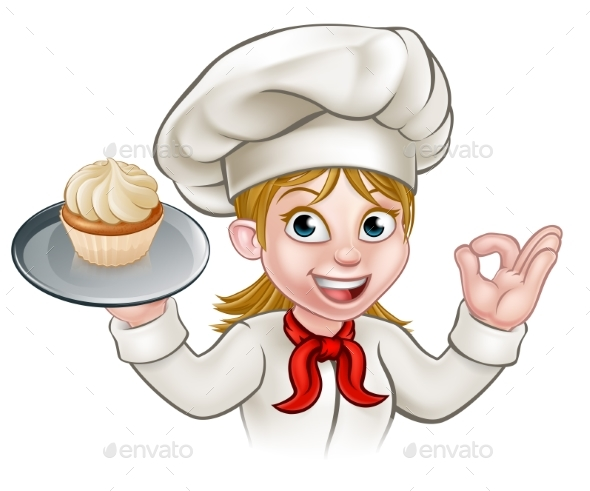 Cartoon woman pastry chef. Baker clipart cupcake baker