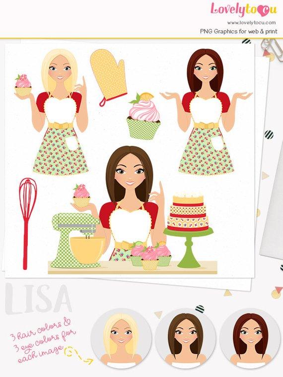 Girl character woman clip. Baker clipart cupcake baker