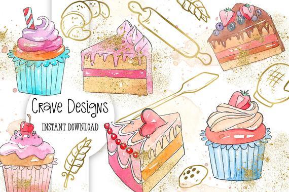 Baker clipart cupcake baker. Cake sweets bakery watercolor