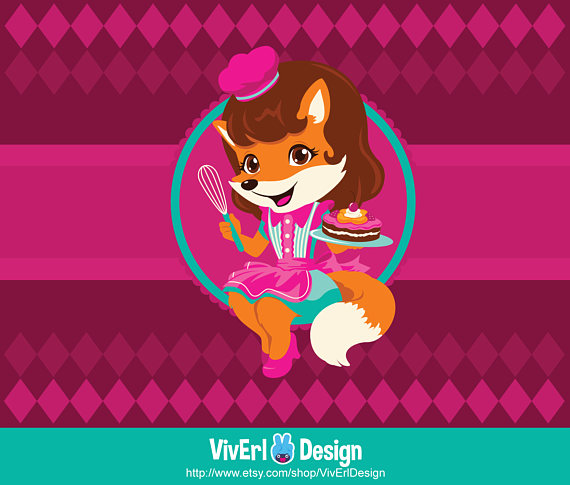 Baker clipart cute. Baking fox girl single