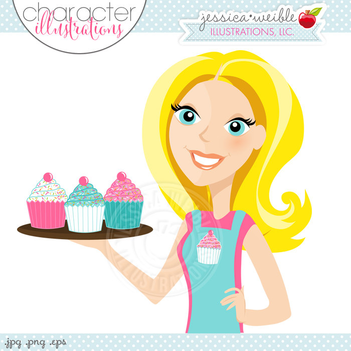 Blonde woman with cupcakes. Baker clipart cute