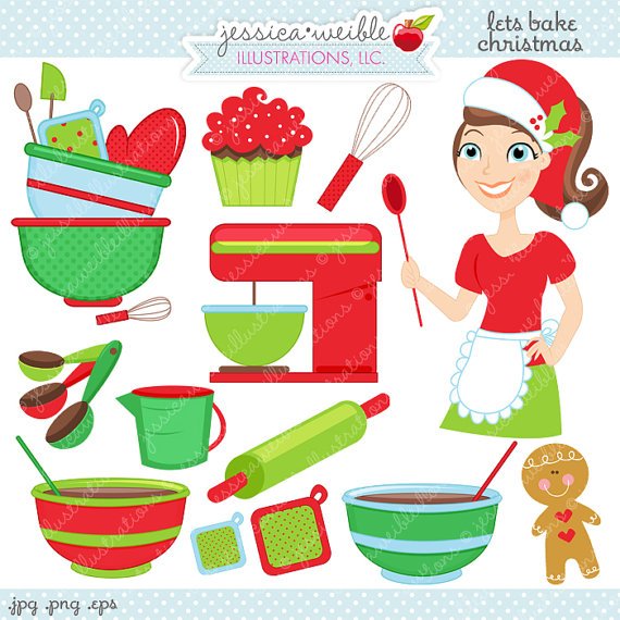 Lets bake christmas digital. Baker clipart cute