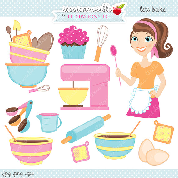 Baker clipart cute. Lets bake digital commercial