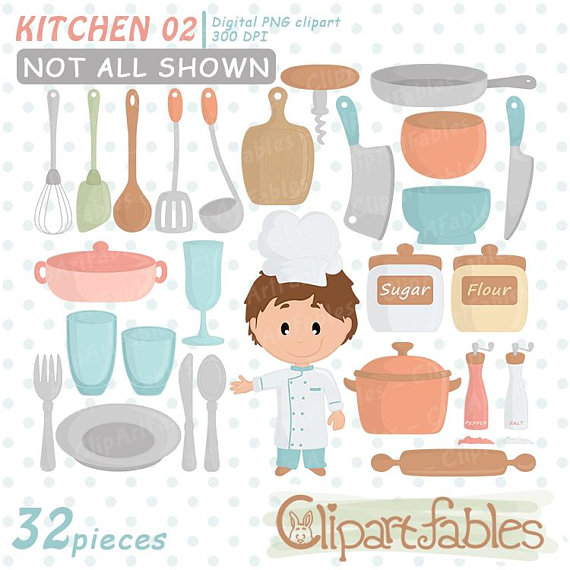 Kitchen party chef planner. Baker clipart cute
