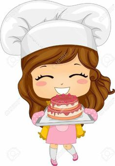 Cartoon of a brunette. Baker clipart cute