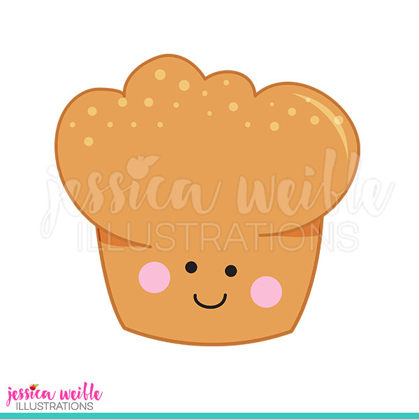 Baker clipart cute. Happy muffin digital clip