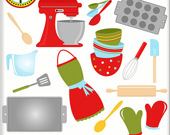 Baking supplies clip art. Baker clipart cute