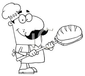 Bread black and white. Baker clipart face
