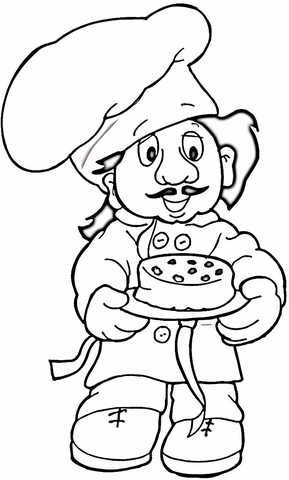 Coloring page free printable. Baker clipart face
