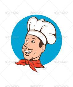 Baker clipart face. Cartoon logo mascot bread