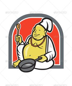 Chef cooking cartoon profession. Baker clipart fat
