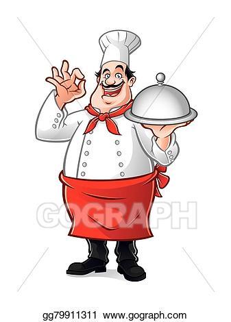 Vector stock chef clip. Baker clipart fat