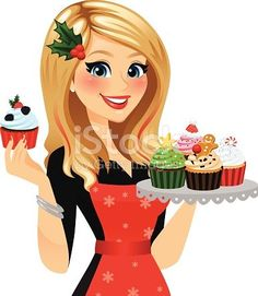 A festive with her. Baker clipart female cake
