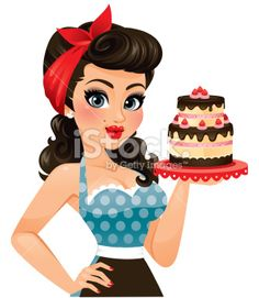 Baker clipart female cake. Retro pin up girl
