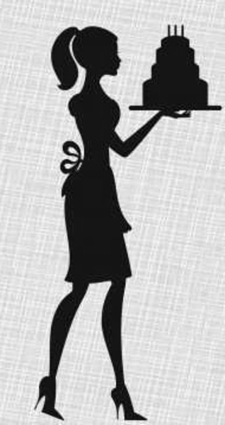 Baker clipart female cake. Silhouette lady birthday invitations