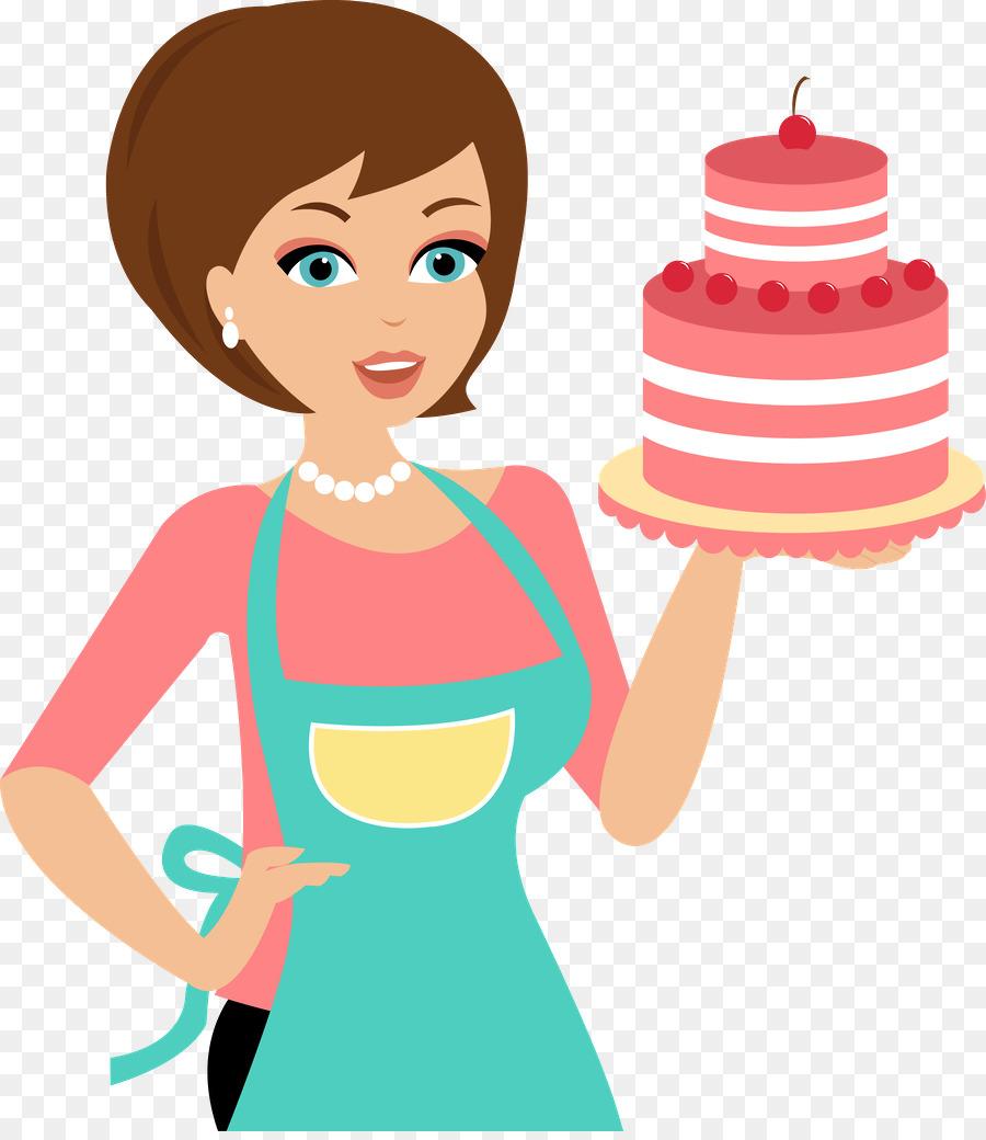 Baker clipart female cake. Cartoon bakery woman illustration