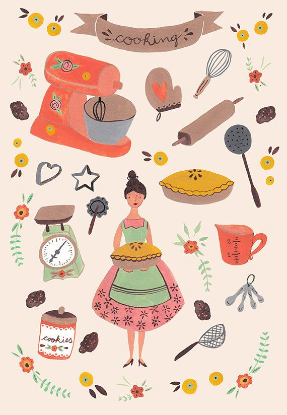 Kitchen a print illustration. Baker clipart food display