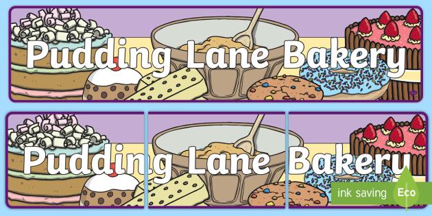 Baker clipart food display. Pudding lane bakery banner